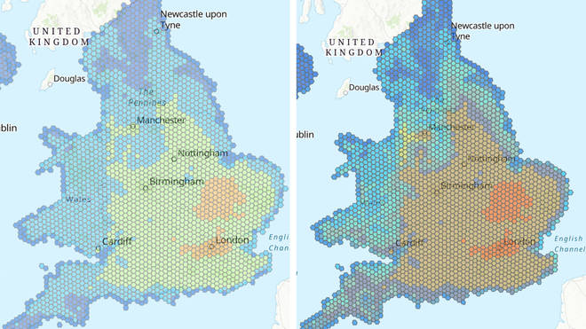 The National Trust map shows how overheating and humidity will intensify between now and 2060