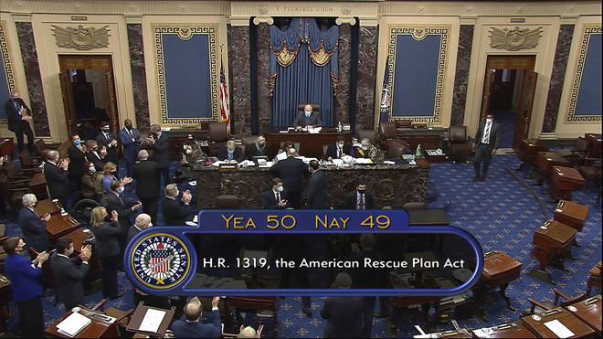 Senators passed the Covid-19 recovery deal by 50-49 votes