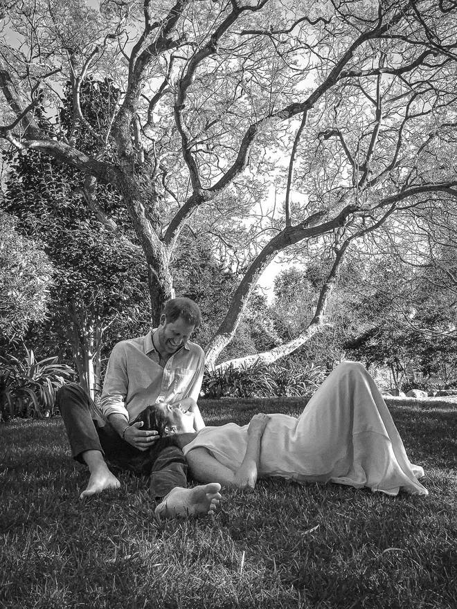 The Duke and Duchess of Sussex released a photograph of them under a tree in Los Angeles to announce the news of their second child.
