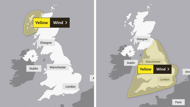 Wind warnings are in place for northeast Scotland on Tuesday (left), with warnings in place on Wednesday and Thursday for England and Wales (right).