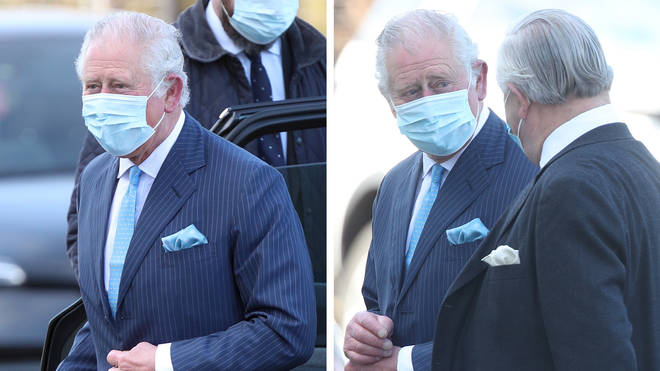 The Prince of Wales arrives for a visit to an NHS vaccine pop-up clinic in London