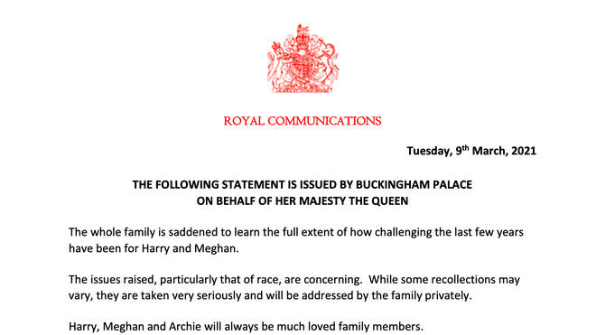 The statement is the first comment any Royals have made on the bombshell interview