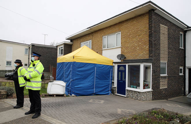 A tent has been erected outside a house on Freemens Way, Deal, Kent.