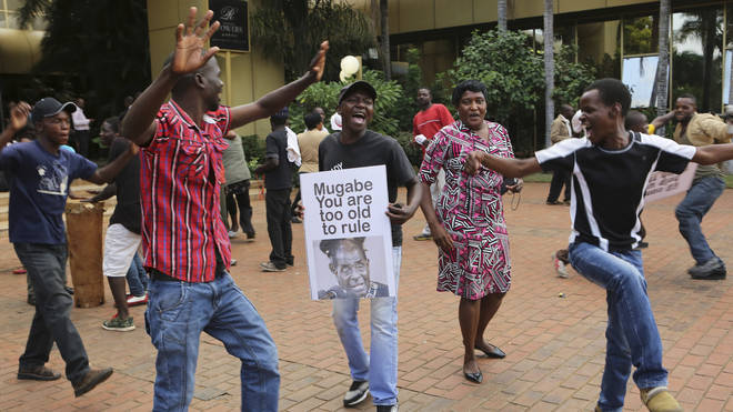 Celebrations erupted as the news broke of President Mugabe's resignation in Zimbabwe