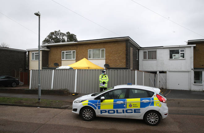 Police outside a house in Freemens Way in Deal, Kent