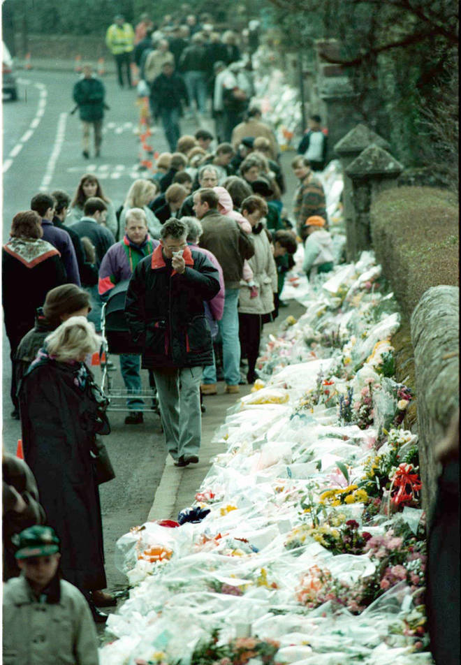 A sea of floral tributes after the shooting in Dunblane