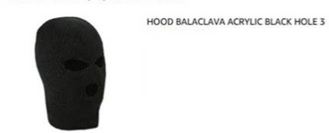 Undated handout photo issued by the Metropolitan Police of hood balaclava allegedly bought online by Sahayb Abu