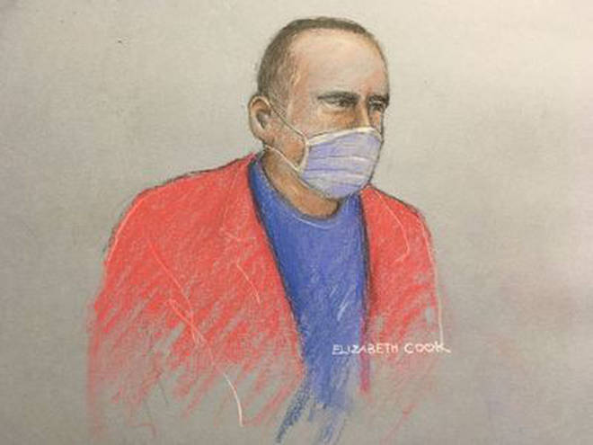 Previously unissued court artist sketch of former hospital porter Paul Farrell.
