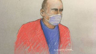 Previously unissued court artist sketch dated 27/11/20 by Elizabeth Cook of former hospital porter Paul Farrell