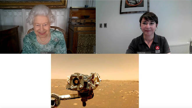 The Queen was shown the latest pictures from Nasa's mission to Mars