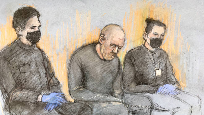 Court artist sketch of serving police officer Wayne Couzens (centre) appearing in the dock at Westminster Magistrates' Court