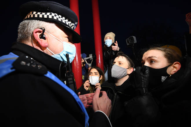 Police are facing a backlash over handling of the unofficial Sarah Everard vigil at Clapham Common