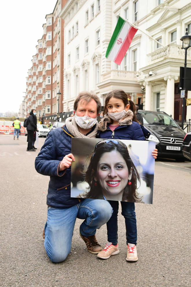 On Monday, Nazanin's husband Richard Ratcliffe and daughter Gabriella attended a protest outside the Iranian Embassy in London.