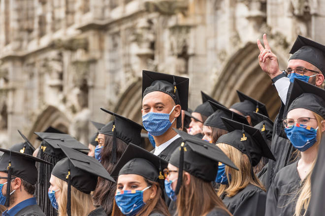 In Belgium students graduated wearing masks in October, but some universities say this isn't possible in the UK this summer.