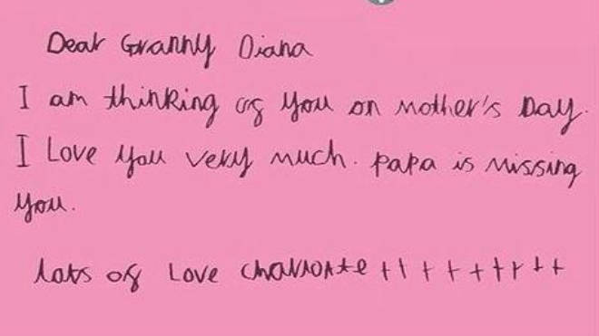 """A Mother&squot;s Day card written by Princess Charlotte says: """"Papa is missing you"""""""