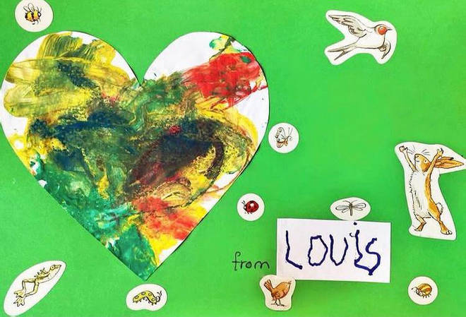Prince Louis made a card with a love heart on it for Diana, the Princess of Wales