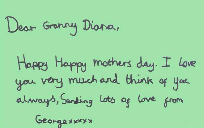 """Prince George sent his love to """"Granny Diana"""" and said he is always thinking of her"""