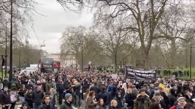Hundreds of anti-lockdown protesters marched in central London