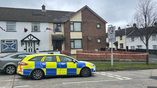 The scene at a residential property in the Derrycoole Way, Newtownabbey