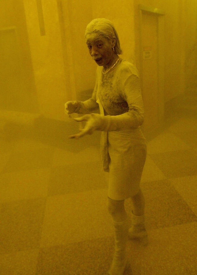The famous image of the woman covered in dust after 9/11