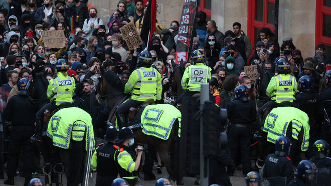 Mounted officers intervened to disperse the large crowd that had gathered outside the New Bridewell police station