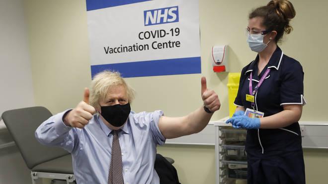 Boris Johnson Receives The AstraZeneca Vaccine