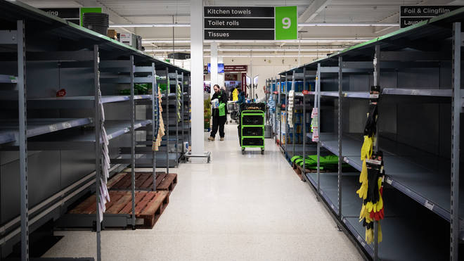 Supermarket shelves were stripped ahead of the anticipated lockdown announcement