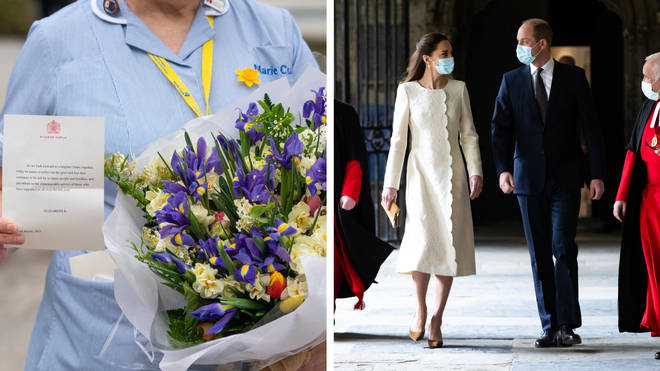 Flowers sent by the Queen to St Bart's in London, and William and Kate at Westminster Abbey