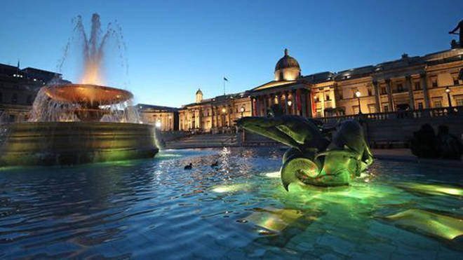 Trafalgar Square in London during the National Day of Reflection.