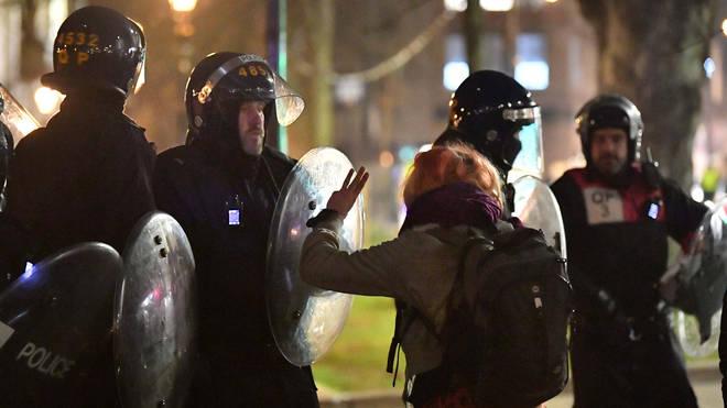 Police said around 130 people had gathered on College Green