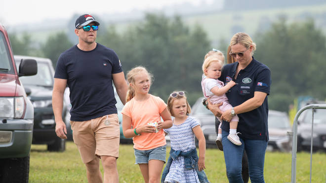 Mike Tindall with Zara's neice Savannah Phillips and his daughters, Mia and Lena, and Zara Tindall in 2019.