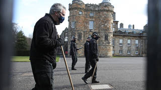 Police carrying long sticks were seen combing the forecourt outside Holyroodhouse on Wednesday morning