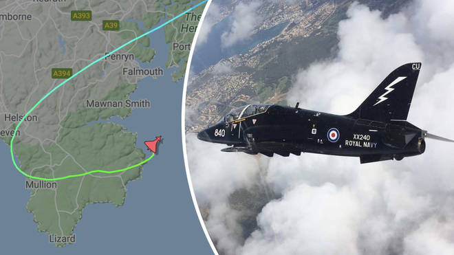 A Royal Navy Hawk T1 is believed to have crashed in Cornwall, sparking an emergency response