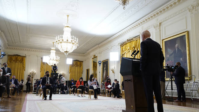 This was Biden's first formal news conference since his term began on January 20