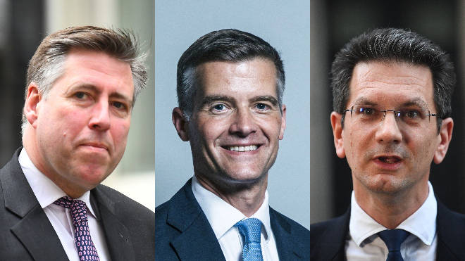 From left to right: Sir Graham Brady, Mark Harper and Steve Baker voted against the government
