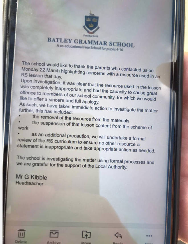 The schools has apologised to parents in an email