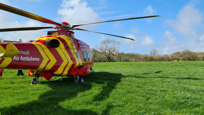 An air ambulance took the pilots to a hospital in Plymouth
