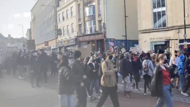 Protesters marched through the centre of Bristol from College Green