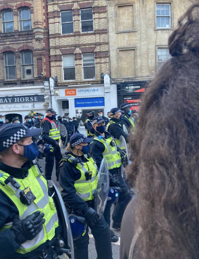Police in the centre of Bristol this afternoon