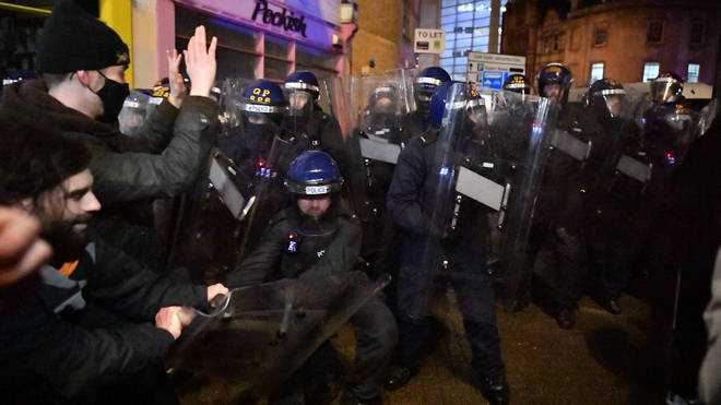 Police made arrests as they cleared protesters from the streets of Bristol