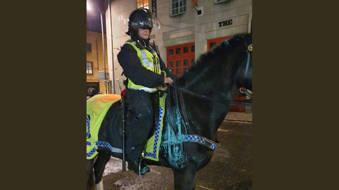 The force said one of their horses was covered in paint by the end of the night