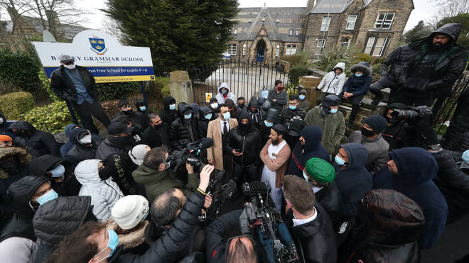 Protests outside Batley Grammar School earlier this week
