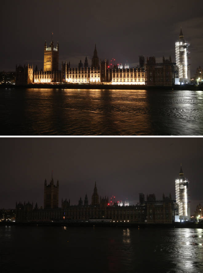 The Palace of Westminster also went dark on Saturday