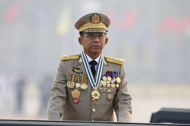 Junta chief Senior General Min Aung Hlaing did not refer to the protests during his televised speech to thousands of soldiers