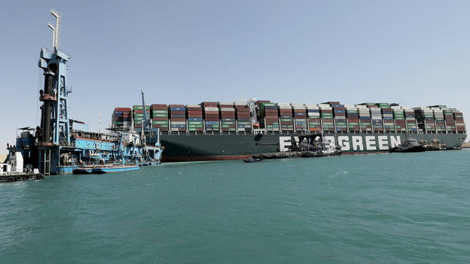 The Ever Given container ship has been blocking the Suez Canal for a week