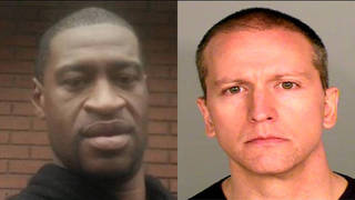 George Floyd (L) died after being knelt on by Derek Chauvin (R) for almost nine minutes