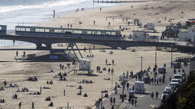 Social distancing was observed at Bournemouth beach.
