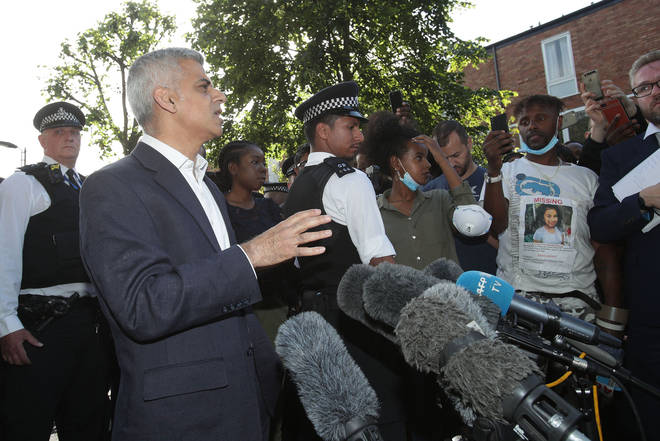 Sadiq Khan speaking to media the morning after the fire at Grenfell Tower.