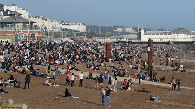 Many enjoyed the warm spring weather on Brighton beach on Tuesday.