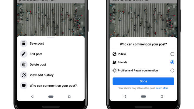 Facebook gives users power to limit comments on public posts